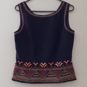 Donna Morgan Black Embroidered Sleeveless Top